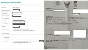 screenshot cek senilai rp 300 ribu untuk penerima bansos di dtks.kemensos.go.id (kiri) dan surat undangan untuk penerima bansos 300 ribu rupiah (kanan).  penerima bantuan sosial tunai rp 300.000 dapat memverifikasi namanya dengan login di dtks.kemensos.go.id.  cek ketentuan penukaran rp 300.000 di sini.